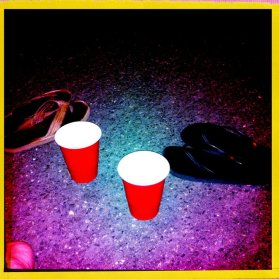 red cups and flip flops in summer
